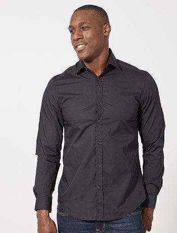 Effen zwart overhemd met recht model - Kiabi