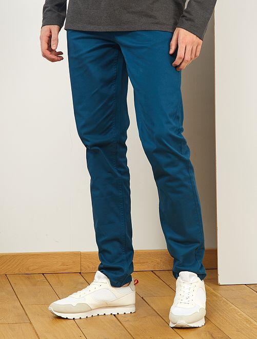 Fitted 5-pocket broek L36 voor 1,90 m+                                                                                         blauw poseidon