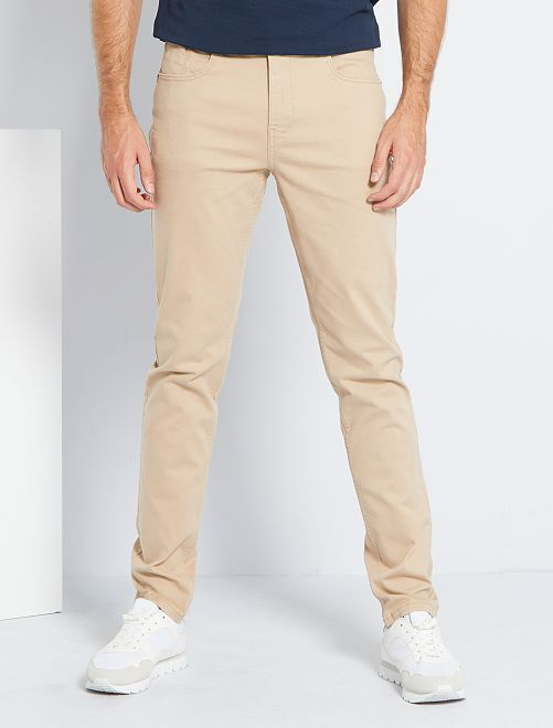 Fitted 5-pocket broek L38 voor 1,90 m+                                                                             BIEGE