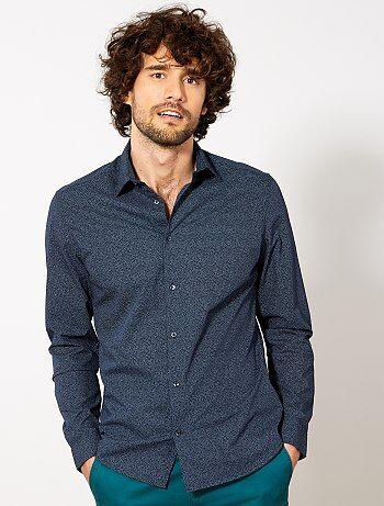 Fitted overhemd van gestippeld katoen - Kiabi