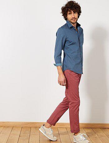 Fitted overhemd van katoen met streepjes en stippen - Kiabi