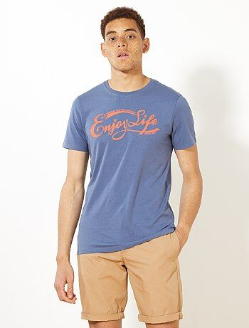 Fitted T-shirt met 'Enjoy Life'-print - Kiabi