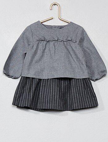 Meisje 0-36 maanden - Flanellen 2-in-1 jurk - Kiabi