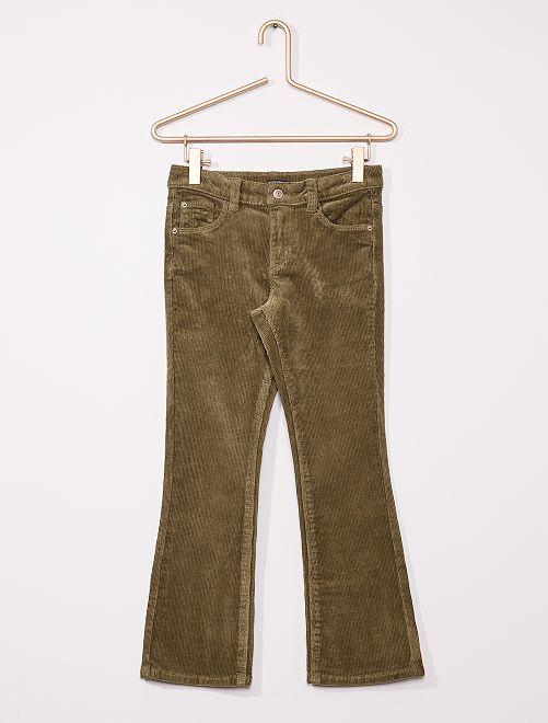 Flared broek van corduroy                                                     groen
