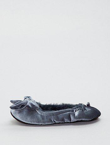 Fluwelen ballerinapantoffels - Kiabi