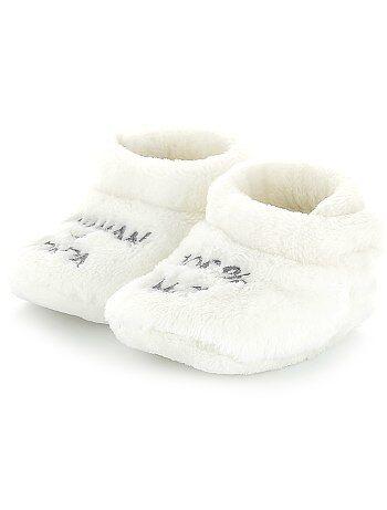 Fluwelen pantoffels met klittenband - Kiabi