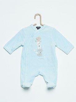 Fluwelen pyjama met berenprint
