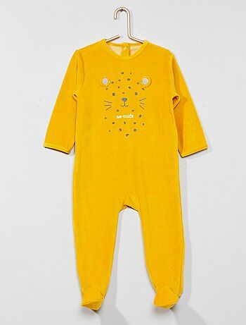 Fluwelen pyjama met borduursel - Kiabi