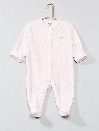 Fluwelen pyjama met 'hello'-print - Kiabi