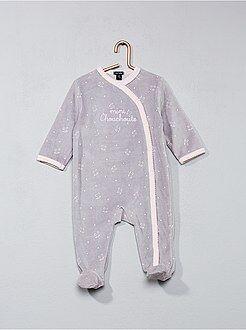 Pyjama, badjas - Fluwelen pyjama met kattenprint - Kiabi
