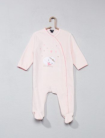 Fluwelen pyjama met kattenprint - Kiabi
