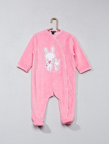 Fluwelen pyjama met konijnenprint - Kiabi