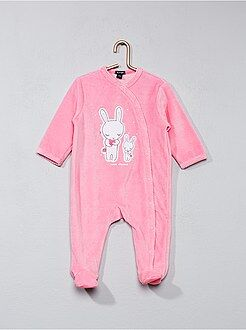 Pyjama, badjas - Fluwelen pyjama met konijnenprint - Kiabi