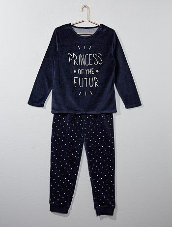 Fluwelen pyjama met print - Kiabi
