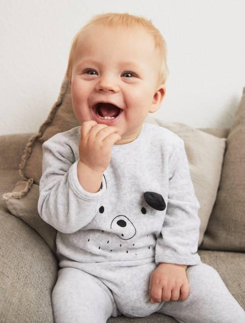 Fluwelen pyjama met print GRIJS Meisjes babykleding