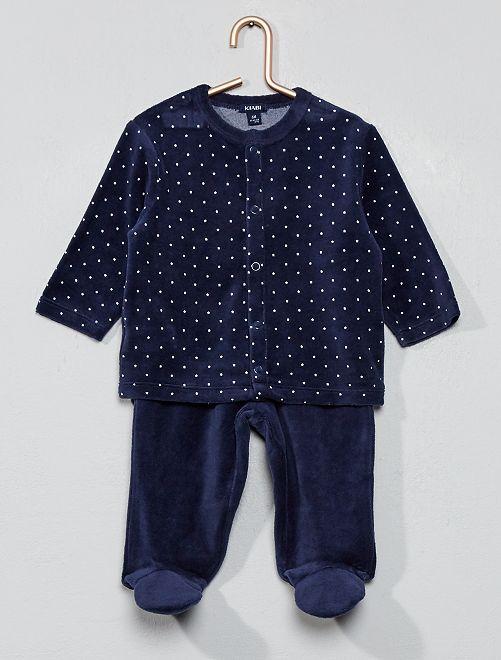 Fluwelen pyjama van biologisch katoen                                                                                         donkerblauw Jongens babykleding