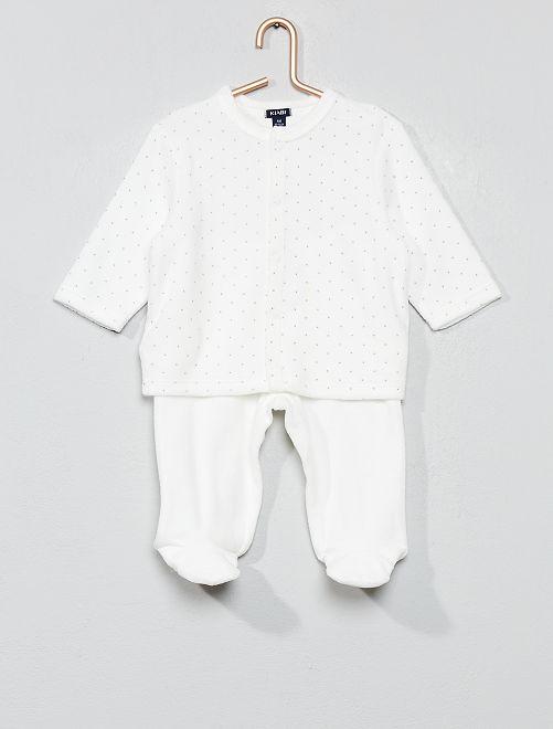 Fluwelen pyjama van biologisch katoen                                                         WIT
