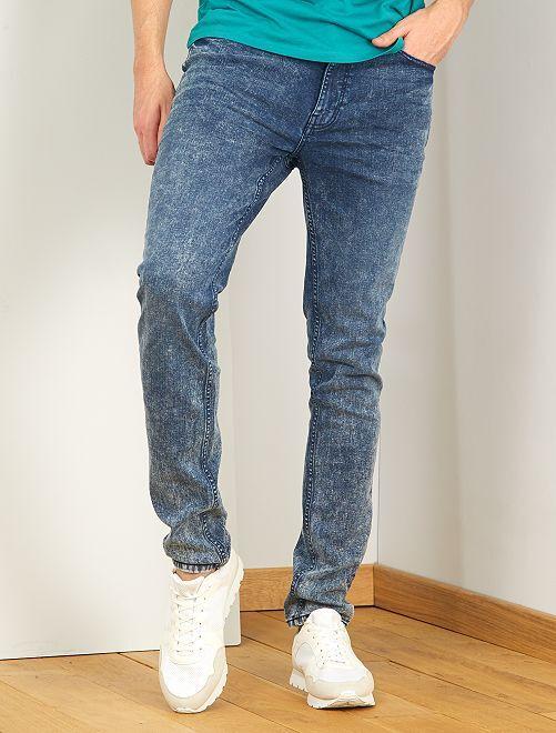 Gebleekte slimfit jeans, lengtemaat 38, 1,90 m+                             BLAUW
