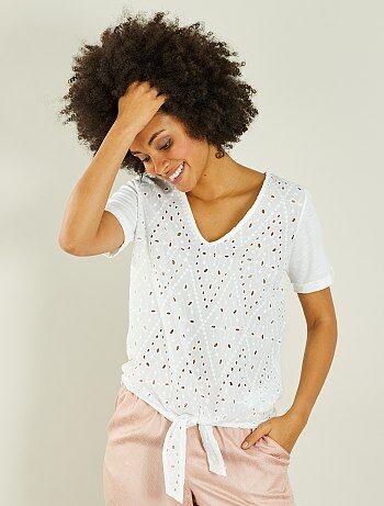 Geborduurd T-shirt met koordjes - Kiabi