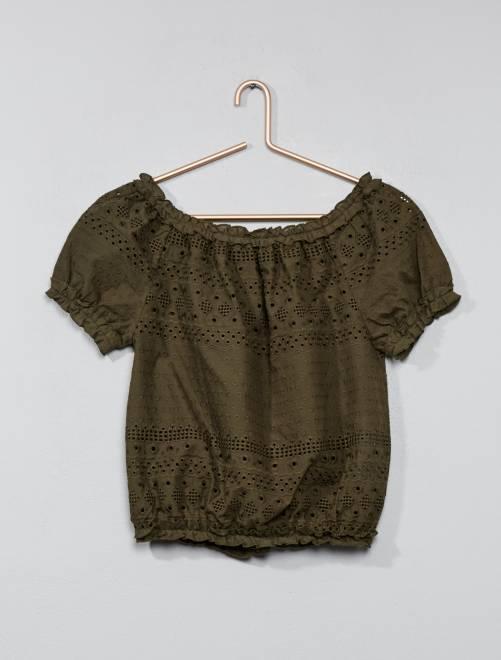 Geborduurde blouse in bardotstijl KAKI Kinderkleding meisje