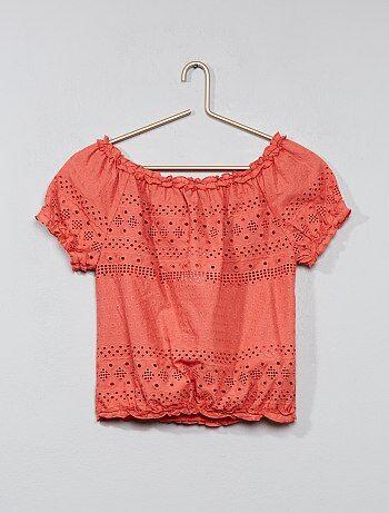 Geborduurde blouse in bardotstijl - Kiabi