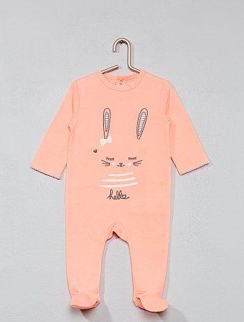 Geborduurde pyjama met voetjes - Kiabi