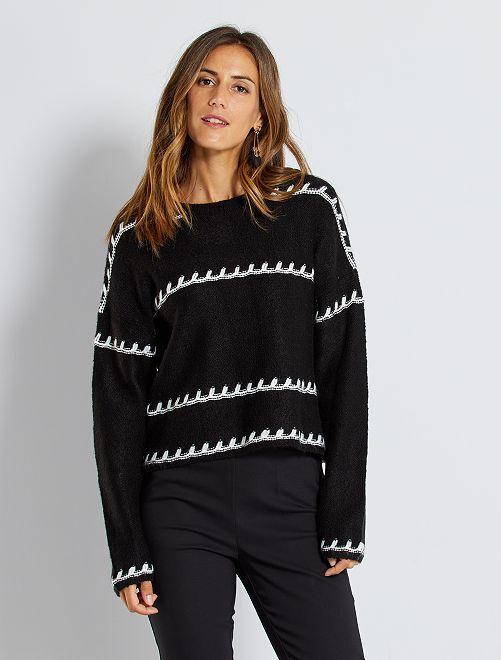 Gebreide trui in verschillende steken                                         zwart