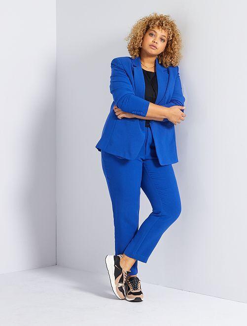 Geklede broek met hoge taille                             zeeblauw
