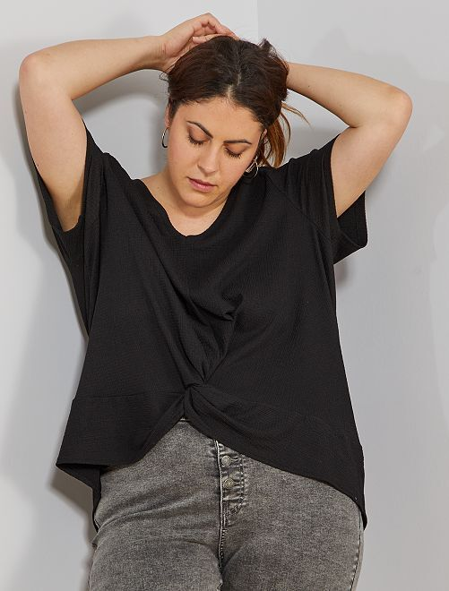 Geknoopt T-shirt                                         zwart Dames size+