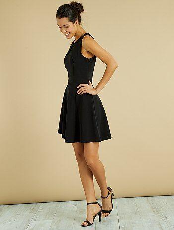 Geplooide jurk met gekruiste bandjes - Kiabi