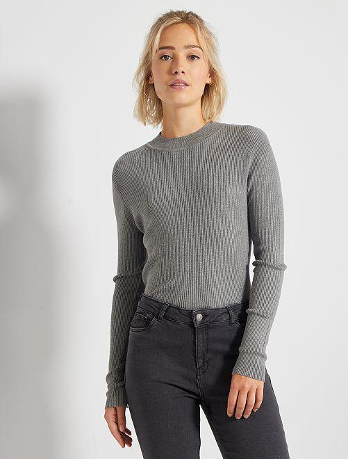 Geribde trui met hoge kraag                                                     GRIJS