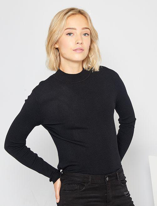 Geribde trui met hoge kraag                                         zwart