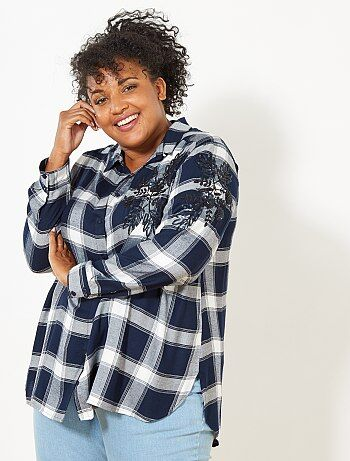 Dames Size+ - Geruite blouse met borduursel - Kiabi