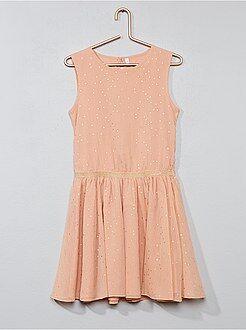 Gestippelde jurk van crêpestof - Kiabi