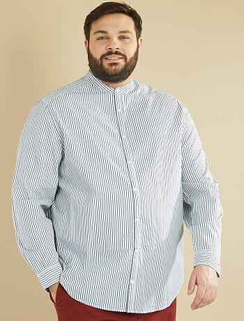 Gestreept recht overhemd met mao-kraag - Kiabi