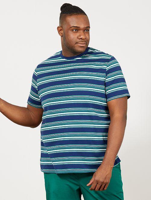 Gestreept regular T-shirt                             blauw gestreept Herenmode grote maten