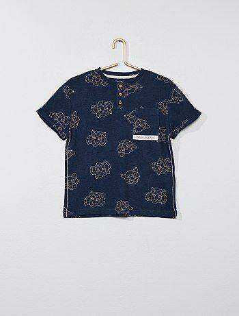 Gestreept T-shirt met een Tunesische hals - Kiabi