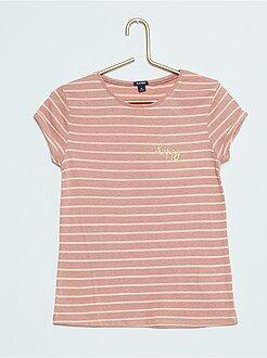 Gestreept T-Shirt met opschrift met lovertjes