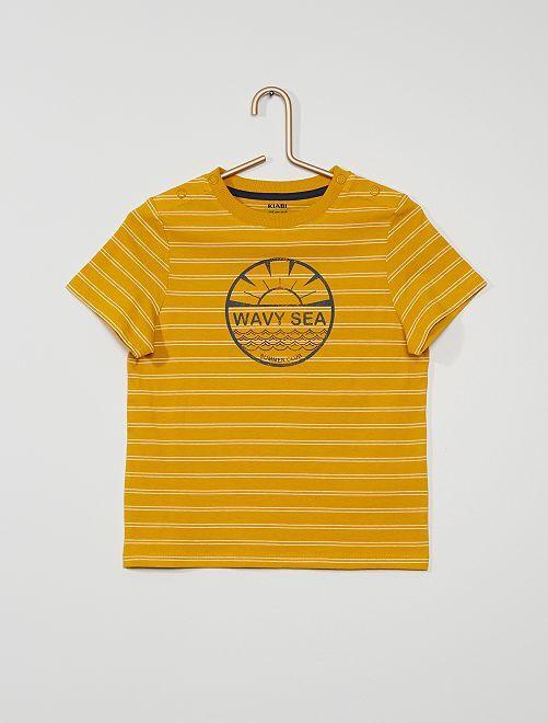 Gestreept T-shirt met print                                         GEEL