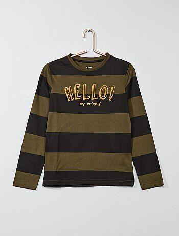 Gestreept T-shirt met print - Kiabi