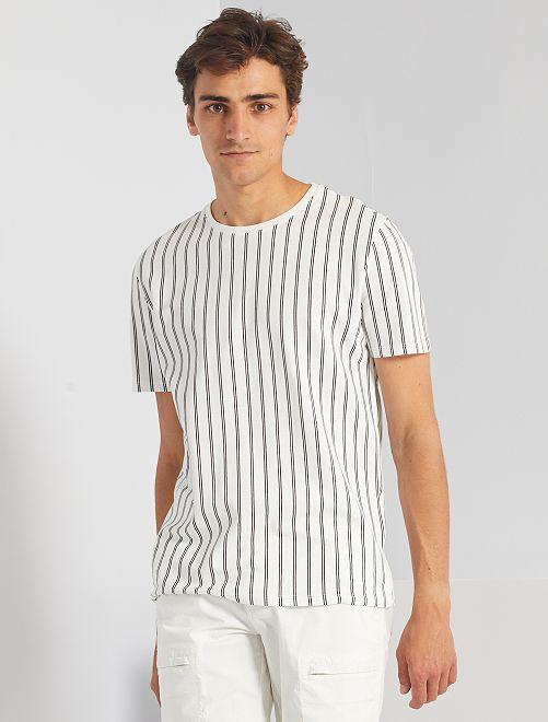 Gestreept T-shirt van piqué                                         sneeuw wit