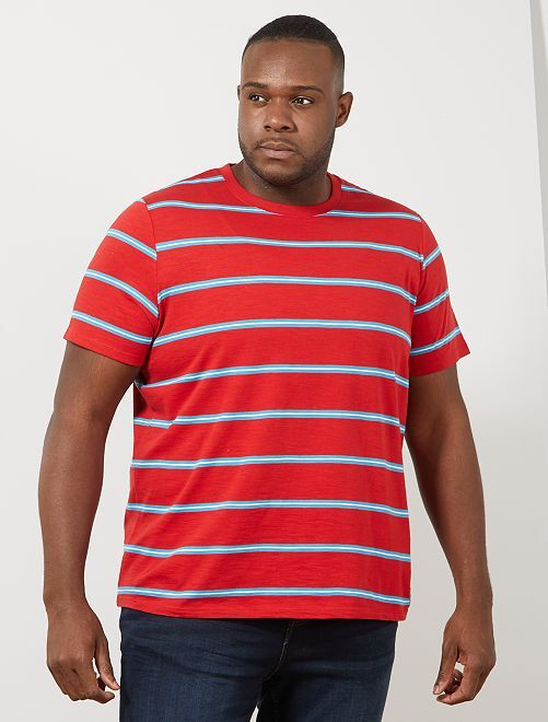 Gestreept  vintage T-shirt                                         ROOD Herenmode grote maten