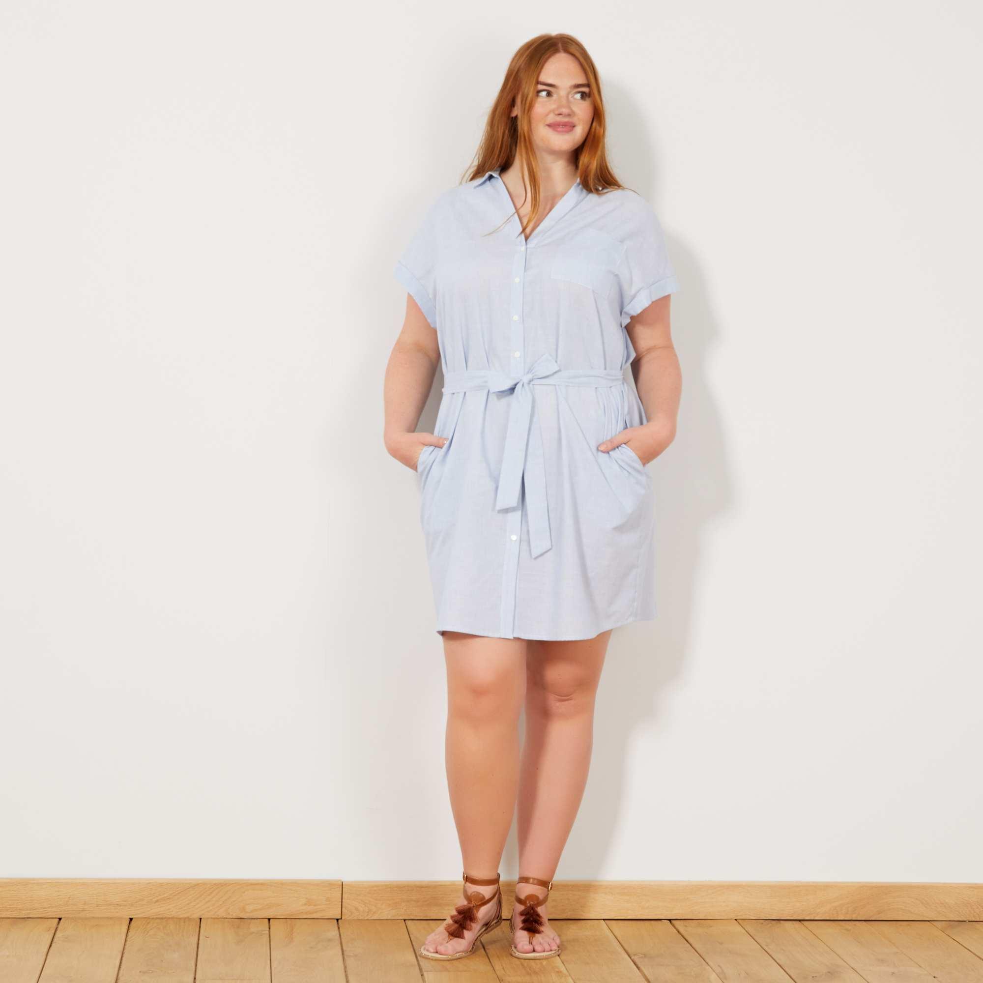 8c4a532b98097a Gestreepte blousejurk Dames size+ - blauw gestreept - Kiabi - 20