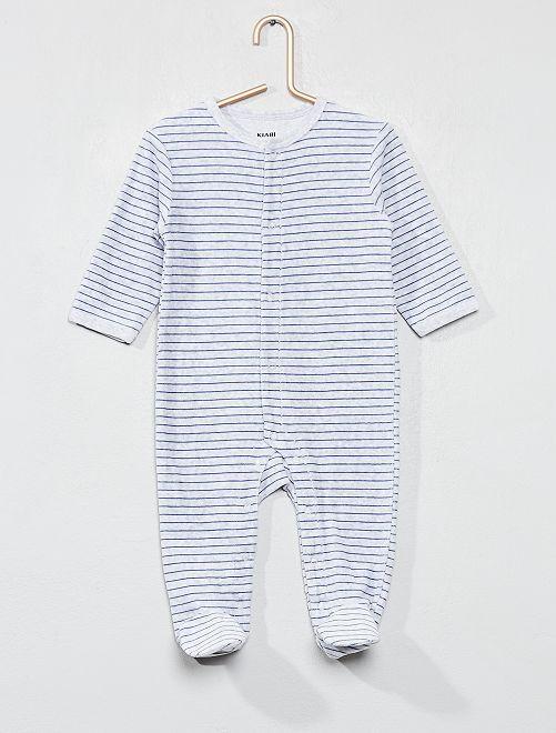 Gestreepte fluwelen pyjama                             GRIJS Jongens babykleding