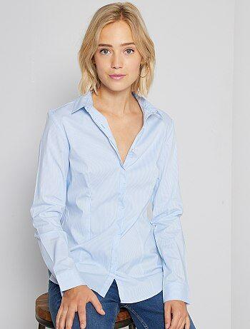 Getailleerde blouse van stretch katoen - Kiabi