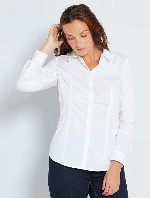 Getailleerde blouse van stretch katoen                                                     wit