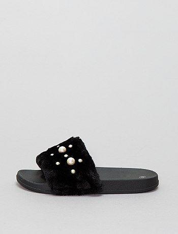 Gevoerde pantoffels met kraaltjes - Kiabi