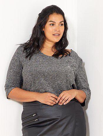 Dames Size+ - Glanzend T-shirt dat gekruist is op de rug - Kiabi