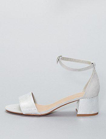 Glanzende sandalen met hak - Kiabi