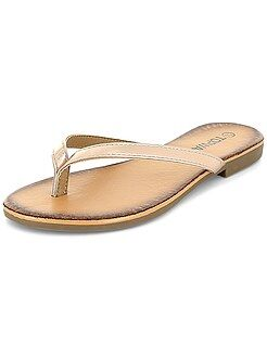 Slippers - Goudkleurige roze teenslippers - Kiabi